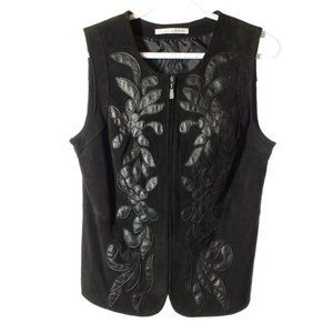 Nygard SUEDE Leather Vest Floral Zip Up Black